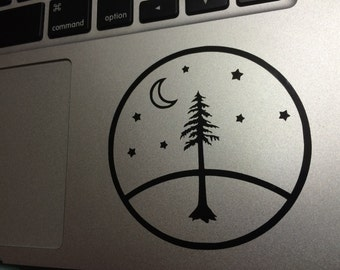 Camping Redwood Forest Vinyl Decal, Vinyl Stickers, Laptop Decal, Car Sticker, Laptop Sticker, Car Decal, Ipad Sticker