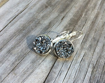 Metallic Silver Glitter Druzy Earrings, Faux Druzy Earrings, Bridal Druzy, Leverback Earrings