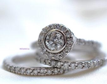 1.60 Carat Round Diamond Bridal Wedding Set