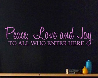 Peace, Love, and Joy wall decal