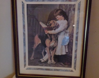 The Reading Lesson Art Print Matted, Behind Glass, Framed, from Art by Charles Burton Barber, Victorian Girl With Her Large Dog Art Print