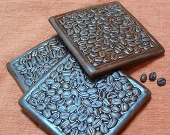 Buy 3 Coffee Coasters/coffee bean French Roast coaster/tile coasterset