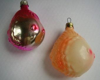 Vintage Soviet Christmas Glass Ornament.Goldfish.Lot 2