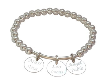 Sterling silver personalized bracelet with engraving pendants