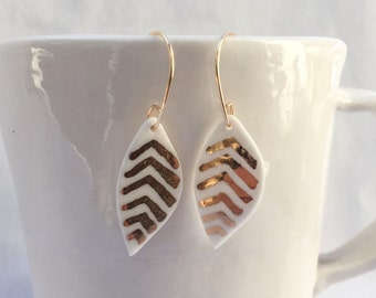 white porcelain leaf earrings with gold accent