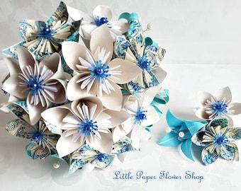 Wedding Bridal Bouquet Buttonhole Set Paper Flower Origami Alternative Individual Unusual