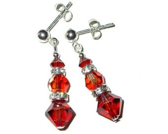 RED MAGMA Crystal Earrings Swarovski Elements Dangle Sterling Silver - Pierced & Clip-on