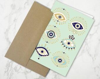 Evil Eyes on Mint – Stationery Card