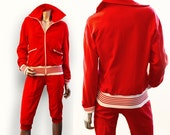Odlo red ski outfit cross country skiing suit, Women's Large, circa 1960s Helanca synthetic fiber and terry cloth interior