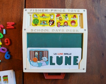 French Vintage Fisher Price School Days Play Desk - model #176 includes 6 French cards, magnetic letters and chalk
