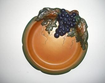 Ipsen Art Deco Pottery Charger Plate, Grapes, Sculpture, Denmark, Antique
