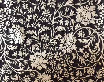Black and Natural Floral - Upholstery Fabric by the Yard