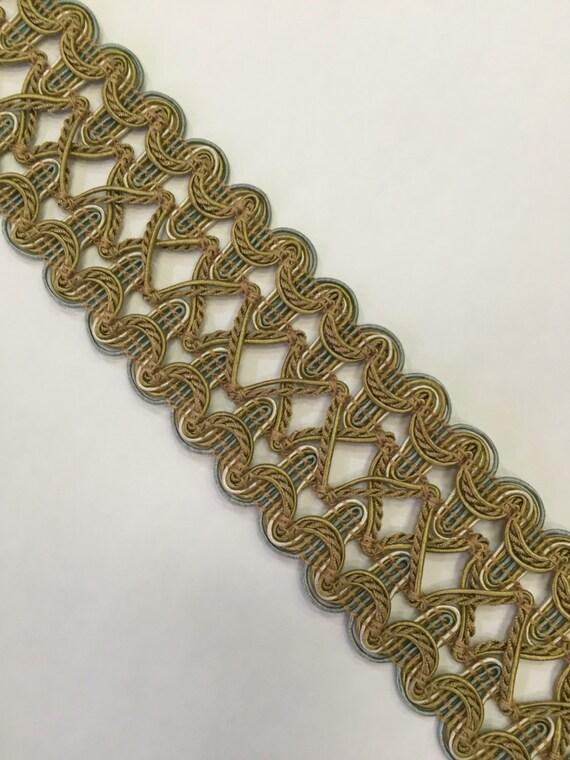 Blue and Gold Textured Braid Home Decor Flat Braid