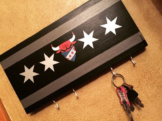 Chicago Bulls Key Chain Holder Keychains Wooden Art