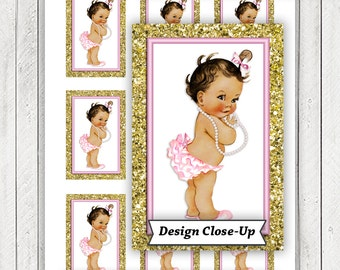 Pink Gold Baby Shower Gift Tags, Pink Gold Glitter Baby Shower Tags, Instant Download Baby Shower Tags, Ethnic Girl Baby Shower Tags, Pearl