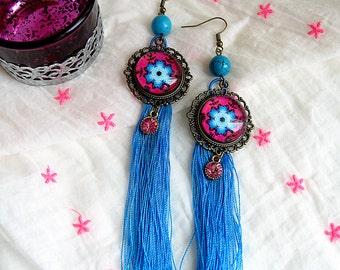 Earrings Bohemian cabochon turquoise tassel flower
