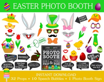 SALE-PRINTABLE Easter Photo Booth Props–Easter Props-Bunny Mask-Easter Photo Props-Easter Party Printables--Instant Download