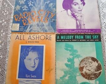 Antique Sheet Music, Set of 4