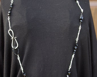 Fine Silver and Black Handmade Necklace with Octogonal Stone Pendant