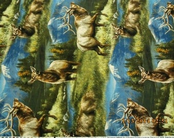 New Wild Wings Elkmont Ridge Scenic with Elk 100% cotton fabric by the yard and half yard