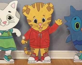 ONE 2ft Daniel Tiger Neighborhood standee cutout (Daniel, Miss. Elaina, Katerina, O the Owl)