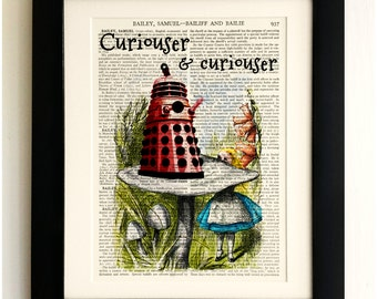 FRAMED ART PRINT on old antique book page - Alice with the Dalek, Doctor Who, Vintage Upcycled Art Print, Encyclopaedia Dictionary Page