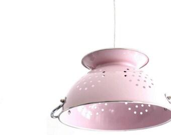 Pink colander lamp