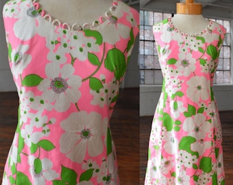 60s Bright Pink and Green Floral Patter Mod Sleeveless Dress