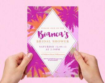 Tropical Bridal Shower Invite Palm Trees Aloha Floral Pink Orange Kraft Paper Bride-to-be Invitation Custom Personalised Printable 5x7 inch