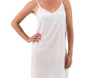"Long Cotton Maxi Dress Slip - ""Celine""  White XS - 3XL"