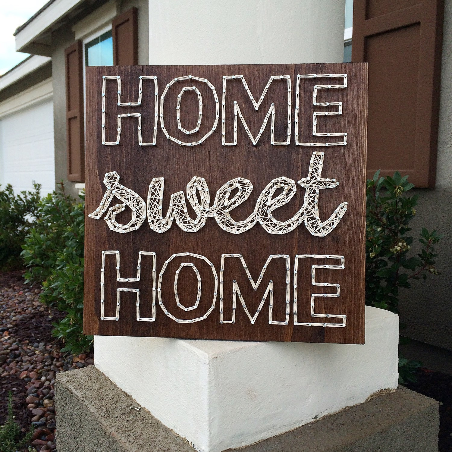 12 home sweet home string art sign. Black Bedroom Furniture Sets. Home Design Ideas