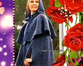 vintage hooded Cape Poncho crochet pattern in PDF instant download version