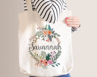 Personalized Floral Tote Bag   Bridesmaid Tote Bag   Bridesmaid Gift   Natural Floral Wreath   Custom Name Canvas Tote Bag   Sister Gift