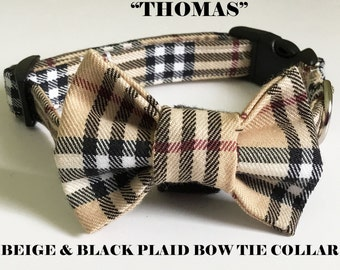 Beige Plaid Bow Tie Collar for Dogs and Cats