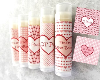 Valentine's Day Favors - Set of 5 -Valentine's Day Lip Balm Favors - School Valentine - Class Valentine's Day Party - Valentine Candy H