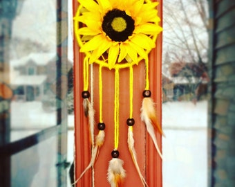 Yellow Sunflower Burst Summer Dreamcatcher