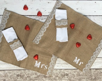Placemats,  Table Mats, Personalised  place mats , wedding place mats , Burlap and cotton table mats,    42cm x 34cm