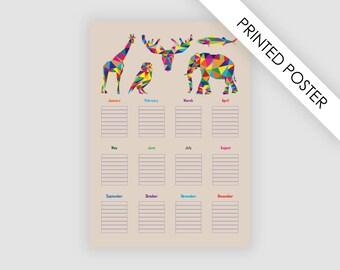 Birthday calendar for kids, printed poster, Tabloid/Ledger, Medium, A3 or A2 size, geometric calendar, animal calendar, kids wall art