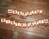 Vintage Firetruck Themed Birthday Banner