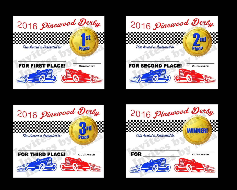 Pinewood Derby Certificate Set 110 fill in DIY Printable