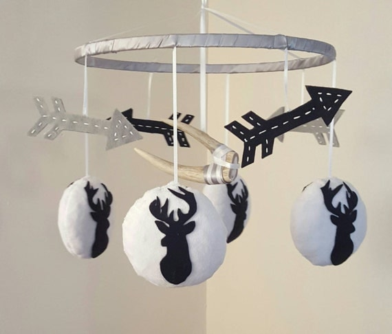 Austin Deer Baby Mobile Antler Arrows Navy By Graceannbaby
