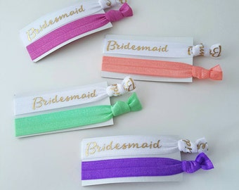 Bridal Party Elastic Hair Tie Cards - Your Choice of Colors - Women's Yoga Hair Ties - Bridesmaid Gift - Bridesmaid Hair Ties - Bride Tribe