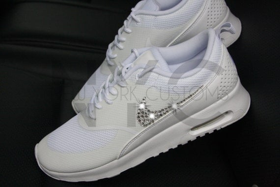hot sale online eca04 cf91d chic Blinged Womens Nike Air Max Thea Running Shoes White by NYCustoms