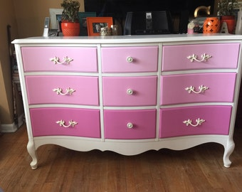 SOLD to Marcy-Vintage French Provincial 9 Drawer Dresser