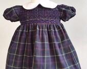 Vintage Ralph Lauren Hunting Stewart Tartan Smocked Dress