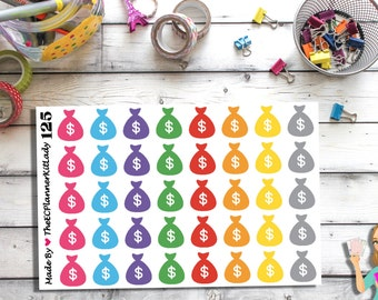 125 (40 - Money Bag Stickers) - Money Bags, Payday, Planner Stickers