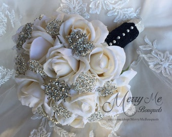 Ivory And Navy Bouquet - Ivory Navy Brooch Bouquet - Ivory Navy Blue Bouquet - Navy Blue Ivory Brooch Bouquet - Navy and Ivory Bouquet
