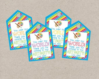 Personalized Art Party Favor Tag. You Color My World. Printable Favor Tags