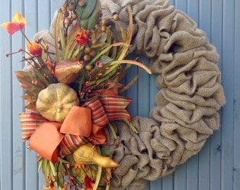 Burlap wreath/fall wreath/Primitive/country/leaves/gourds/burlap and berries/fall decor/Halloween