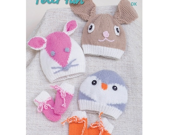PeterPan Knitting Pattern 1240 Babies Hats & Mittens Prem-3 Yrs